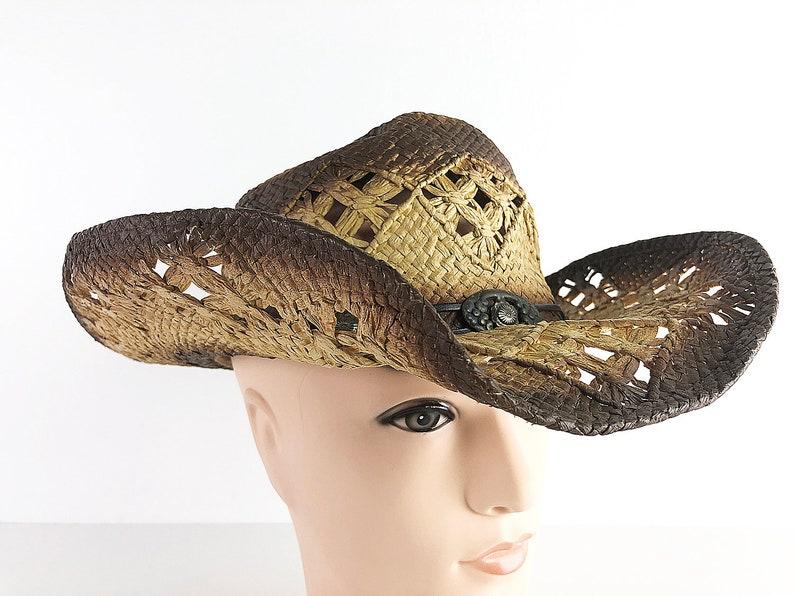 Waxed Straw Sun Hat 90s Cowboy Hat Wide Brim Ranchers Hat Woven Straw Western Hat Waterproof Sun Hat One Size Fits All Treated Straw Hat