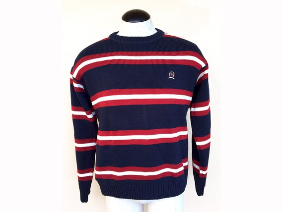 4eeaa0fe293 Striped Hilfiger Sweater 90s Tommy Hilfiger Red White & Blue | Etsy