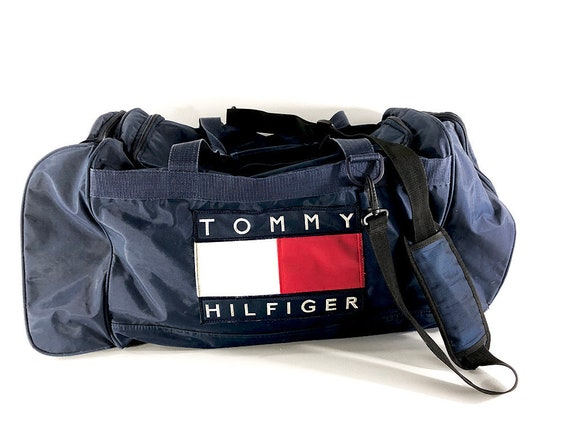 2979a6fcb53d 90s Tommy Hilfiger Duffel Bag Large Duffle Bag Red White and
