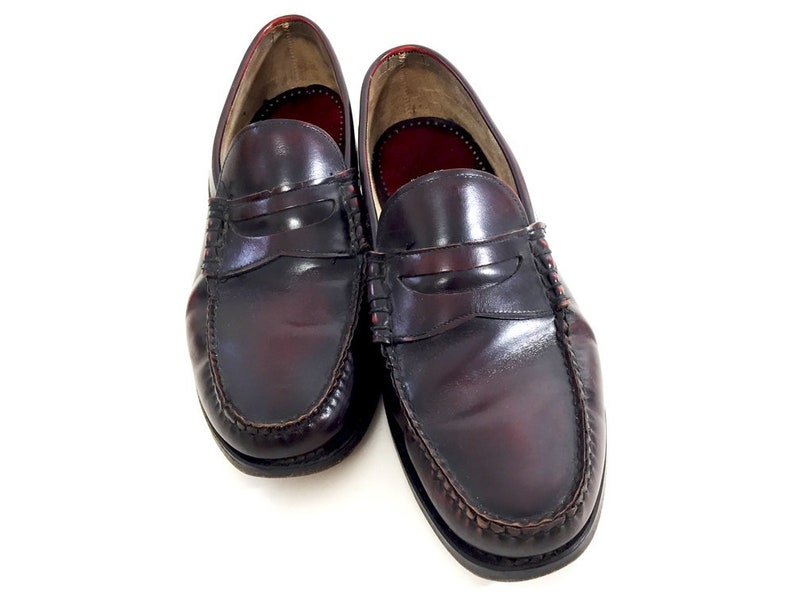 7a9fc5d3aed Mens 9.5 Burgundy Loafers Leather Hanover Slip-Ons 80s