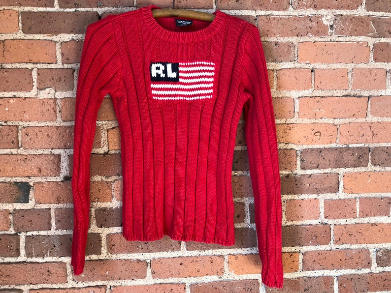 cacae3ea Polo Ralph Lauren Flag Sweater Chunky Red Crewneck Women's S - 90s Vintage  Polo Jeans Sweater Red White & Black - USA Sweater American Flag
