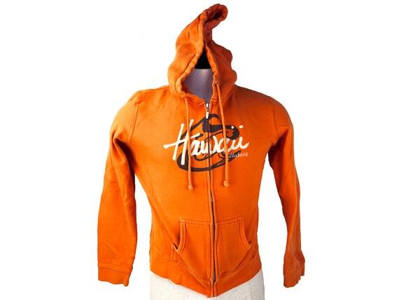90s Billabong Hawaii Zip Hoodie Streetwear Orange Surf Hoodie Womens XL Mens M to L Full Zip Sweatshirt Hawaii Shirt Billabong Streetwear