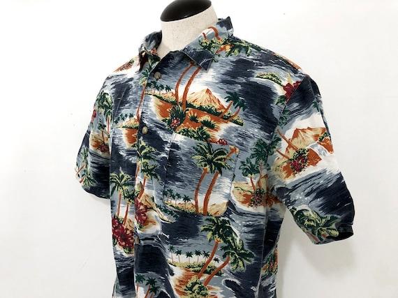 c75b2932 Vintage Hawaiian Shirt Flowered Shirt Big Island Volcano | Etsy