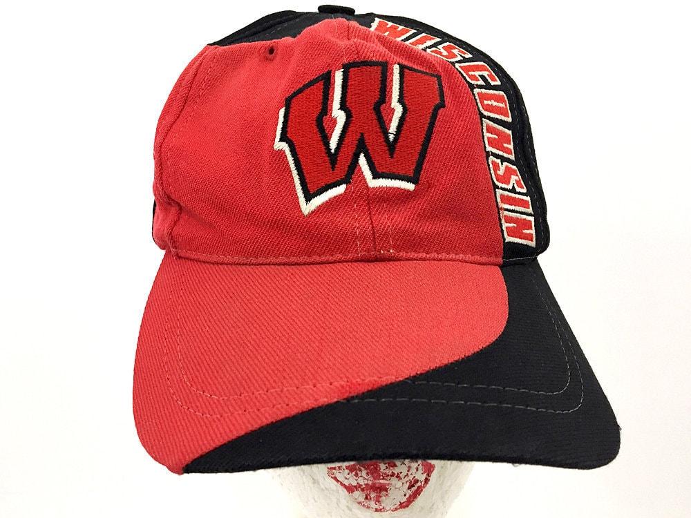 57ef46a57 80s Wisconsin Badgers Cap Vintage Trucker Hat - University of Wisconsin Cap  Red Black & Tan Snapback - Trucker Hat Women Trucker Hat for Men