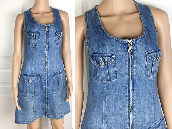 good selling on sale wholesale outlet Denim Jumper Dress Sexy Zip Front Blue Jean Mini Dress by Express - 80s 90s  Denim Dress Size S to M, Romper Dress, Jeans by Express Jumper