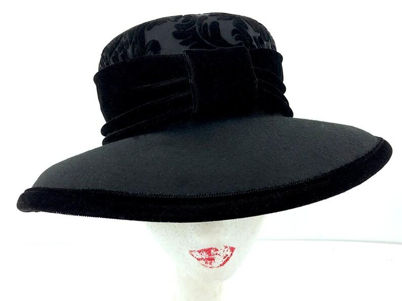 ad02555691d 60s Women s Fedora Hat Fancy Bucket Hat Black Wool Hat
