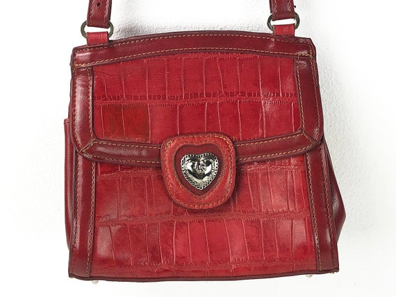 93c8c23b0305 Vintage Heart Handbag Romantic Red Purse with Silvertone Heart