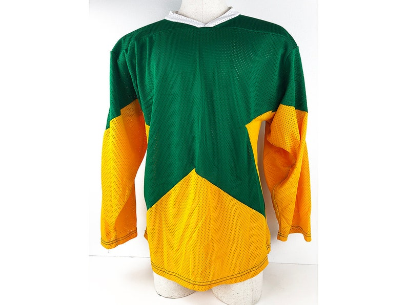 best loved b4c6c 18d2a Vintage Mesh Hockey Jersey Green & Gold Star Shirt - Heavy Duty Nylon Mesh  Long Sleeve Oversized Size Large Jersey Classic Collection Shirt