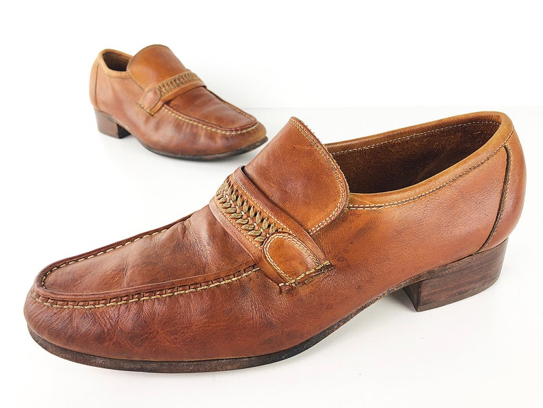 80s Moc Toe Loafers With Braided Leather Accent Straps By Thom Mcan Vintage Chestnut Slip Ons Leather Soles Stacked Wood Heels Mens 8 D