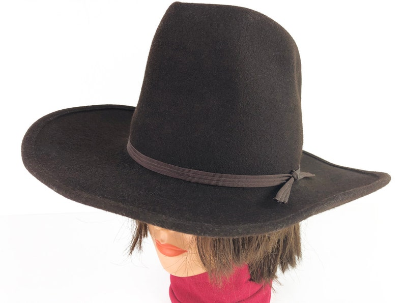 5d2916e99 Eddy Bros Cowboy Hat Brown Wool Hat Band and Satin Lining Size 7 1/4 - 60s  Vintage Cowboy Cowgirl Hat Western Hat Wool Felt Hat