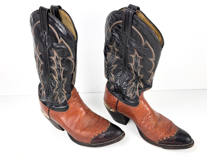 c2cdf7dfa384f Tony Lama Boots Two Tone Vintage Cowboy Boots Reptile Leather Toes Engraved  Heel Guards & 5 Row Top Stitch - Mens 7.5 Womens 9 Cowgirl Boots