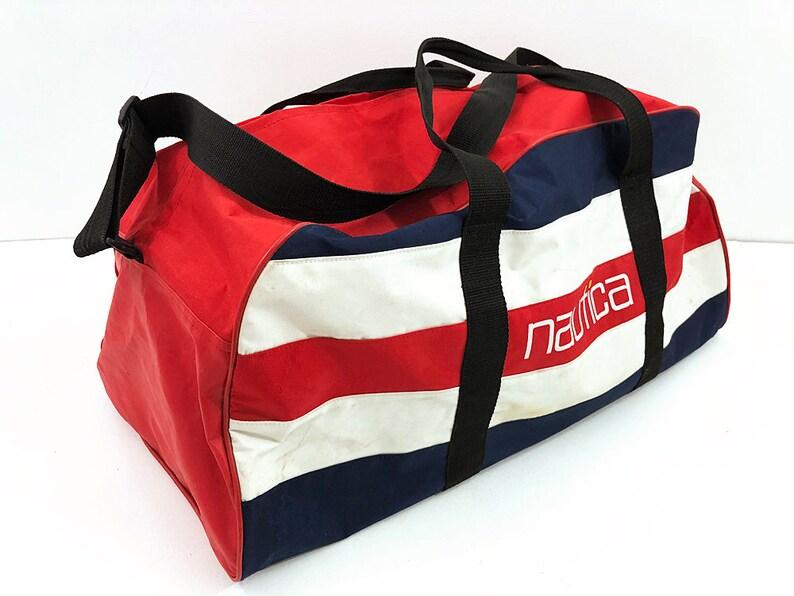 adb809468 Nautica Duffel Bag Travel Bag Red White & Blue Bag Vintage | Etsy