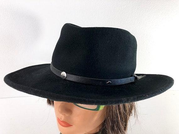 Black wool felt cowboy hat with leather hat band Flex Fit  94d3c7a6055d