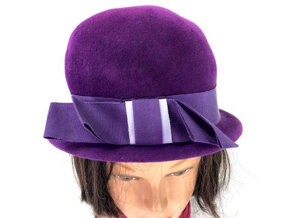 Vintage Plum Bowler Hat 50s 60s Peachbloom Velour Merimac  38ced1d4d34a