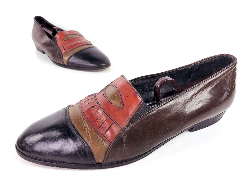 80s Stracam Loafers Italian Shoes Vintage Rainbow Penny Loafers in Orange Gold Black and Brown Made in Italy Mens 8 Mens Dress Shoes