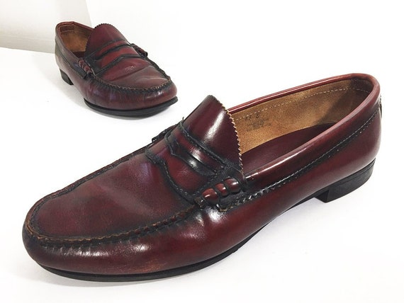 Size 11 Bass Penny Loafers Cordovan Red 80s Oxblood Burgundy Etsy