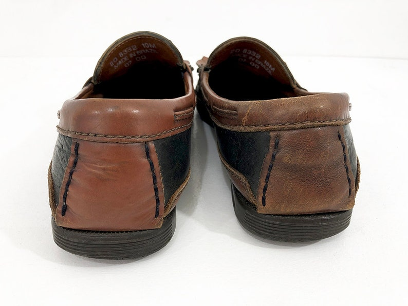 Vintage Moc Toe leather Loafers Distressed Two Tone Loafers 2-Tone Kiltie Fringe Tassel Loafers 90s Johnston /& Murphy Deck Shoes Mens 10
