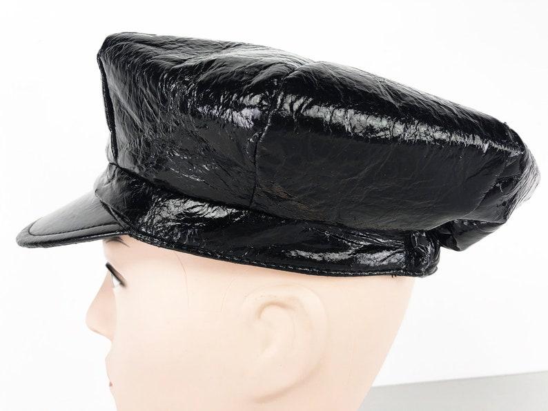 0dd5f0cb52d6a Vintage Bikers Cap Black Vegan Leather Duty Cap 80s Newsboy