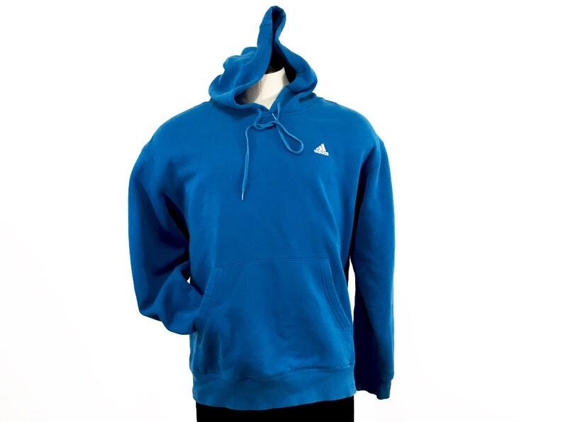 Blue Adidas Hoodie Vintage Streetwear Adidas Stripes Sweatshirt Mens L Womens XL Cerulean Blue Adidas Hooded Pullover 90s Adidas Shirt