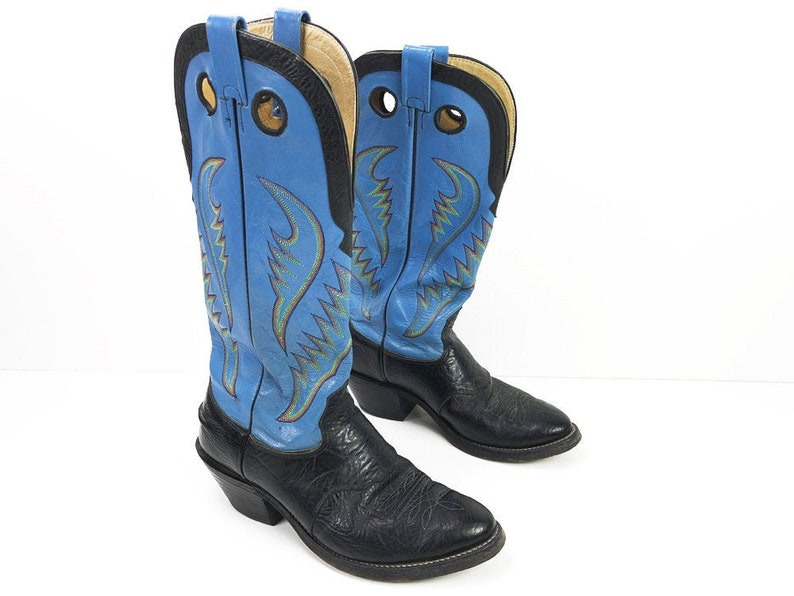 107a48dc3ec Sky Blue Nocona Cowboy Boots Mens 10.5 - Tall Black & Blue Buckaroo Boots -  High Heel Cowboy Boots With Rainbow Stitching Cut-Out Pulls