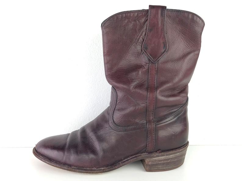 d70af25efc3fe Frye Western Boots Vintage Burgundy Leather Cowboy Boots Mens 10 - 80s or  90s Mid Calf Deep Red Leather Boots Vintage Frye Boots Roper Boots