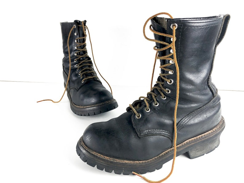 sale retailer 04944 83be1 90s Red Wing Boots Logger Boots Vintage Platform Work Boots Mens Size 9 -  Black Leather Boots with Vibram Soles Distressed Tall Combat Boots