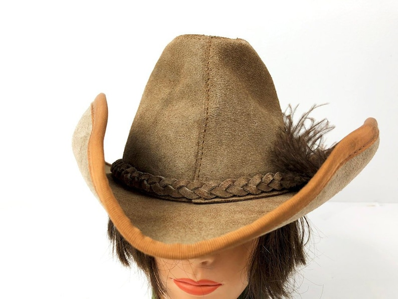 70s Leather Cowgirl Hat Vintage Bush Hat with Braided Band  ce661e884292