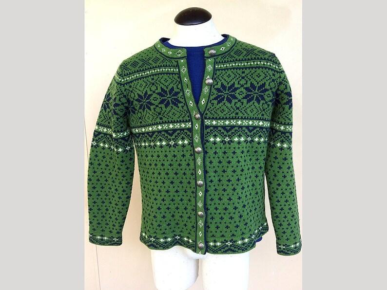 67263fd2f60 Snowflake Lambswool Cardigan LL Bean Winter Sweater Womens L