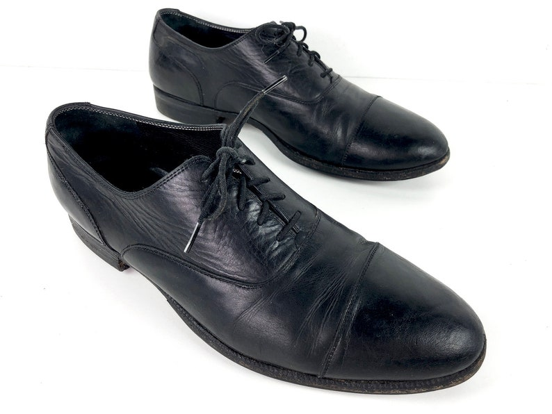 406a84769591b Vintage Black Cap Toe Oxfords Mens 12 - Textured Leather Tie Shoes with  Biltrite Heels - 90s Bespoke Shoes Made in Hong Kong by Maylin Shoes