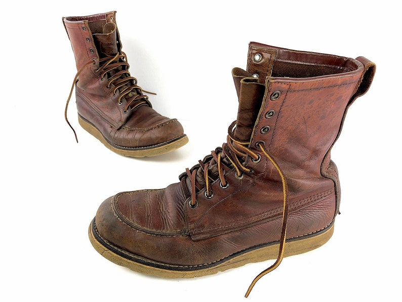 4c6cf0ab625 60s Red Wing Irish Setter Sport Boots Work Boots Mens 9.5 - Vintage Tall  Red Leather Moc Toe Hunting Boots Cush-N-Crepe Soles Redwing Boots