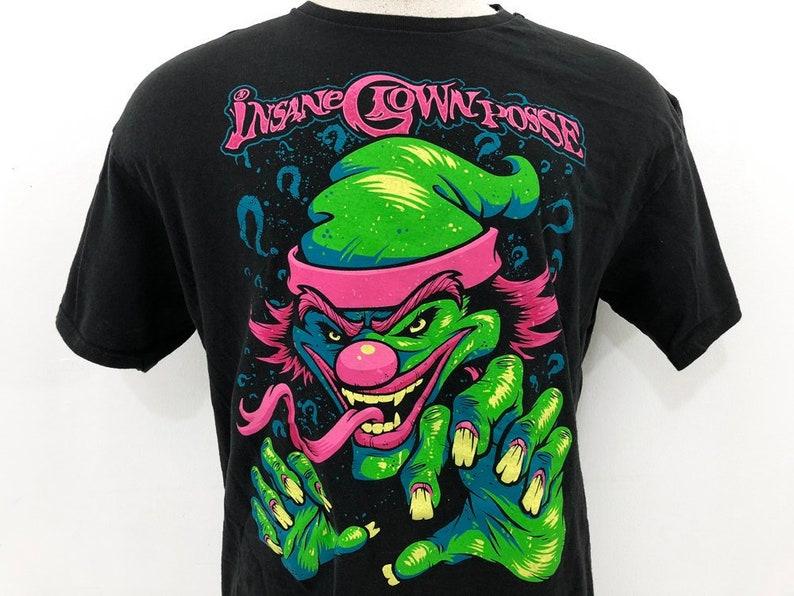 0bb4891e6428 Insane Clown Posse Shirt 90s Vintage ICP Tee Neon Pink Green image ...