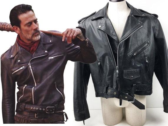 21dd710ff Negan Leather Jacket Walking Dead Black Leather Biker Jacket Mens L - 90s  Motorcycle Jacket Bomber Jacket Rock Star Neegan Jacket Tekken 7