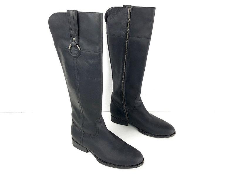 ed716e1b365 80s Tall Black Riding Boots Vintage Frye Boots Zipper Boots Mens 10 B  Womens 11.5 - Black Leather Boots Rustic Boots Zip Boots Knee Boots