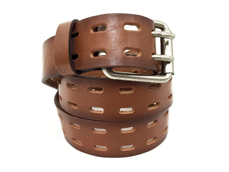 40717097e181e 90s Double Prong Belt Distressed Bronze Brown Punch-Hole