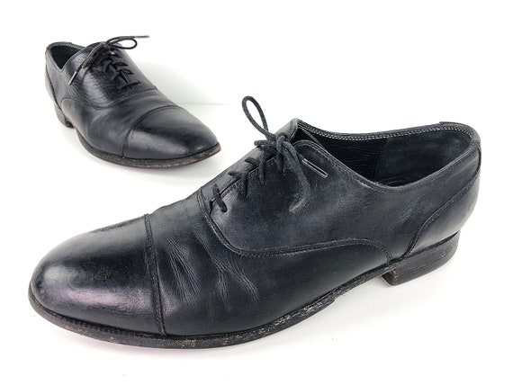 a970aea222fa8 Vintage Black Cap Toe Oxfords Mens 12 - Textured Leather Tie Shoes Biltrite  Heels - 90s Bespoke Shoes Made in Hong Kong by Maylin Shoes