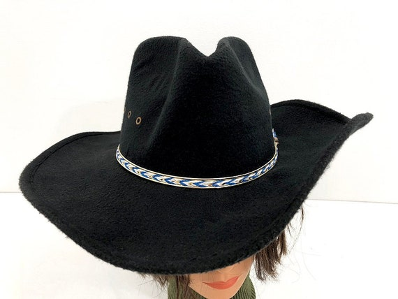 10d142bd24bc4 Westworld Black Cowboy Hat with Blue   White Band Western