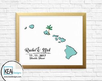 Hawaii Map Wedding Guestbook // Thumb print or Signatures Wedding Guestbook // Guestbook alternative idea on Poster // Wedding - KEAiDesigns