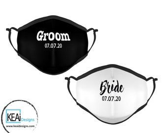 Personalized Face Masks for Bride & Groom // Custom Bride and Groom Masks // Masks Gift for Bride and Groom // Wedding Gift - KEAiDesigns