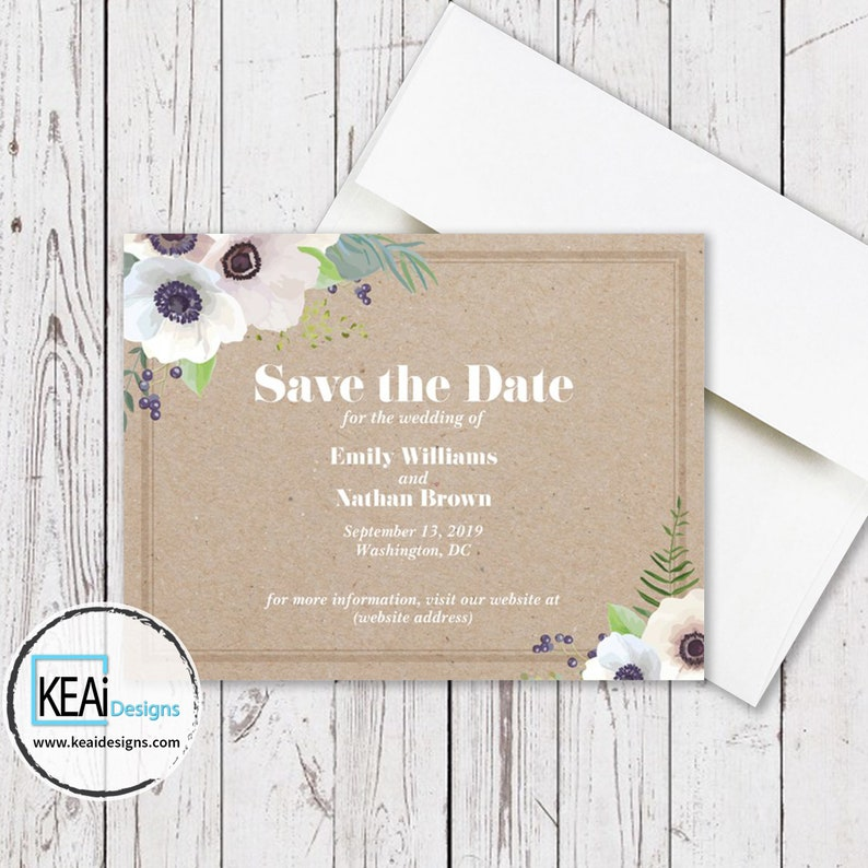 White Flowers Wedding Save the Date Invite // White Flowers image 0