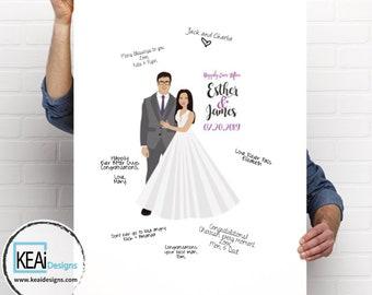 Custom Illustration for Wedding // Customize Couple Portrait // Personalized wedding gift // Wedding Guestbook // Wedding - KEAiDesigns