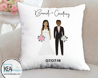 Custom Illustration Throw Pillow as Wedding Gift // Customize Throw Pillow // Wedding Gift // Gifts for Couple // Wedding Gift - KEAiDesigns