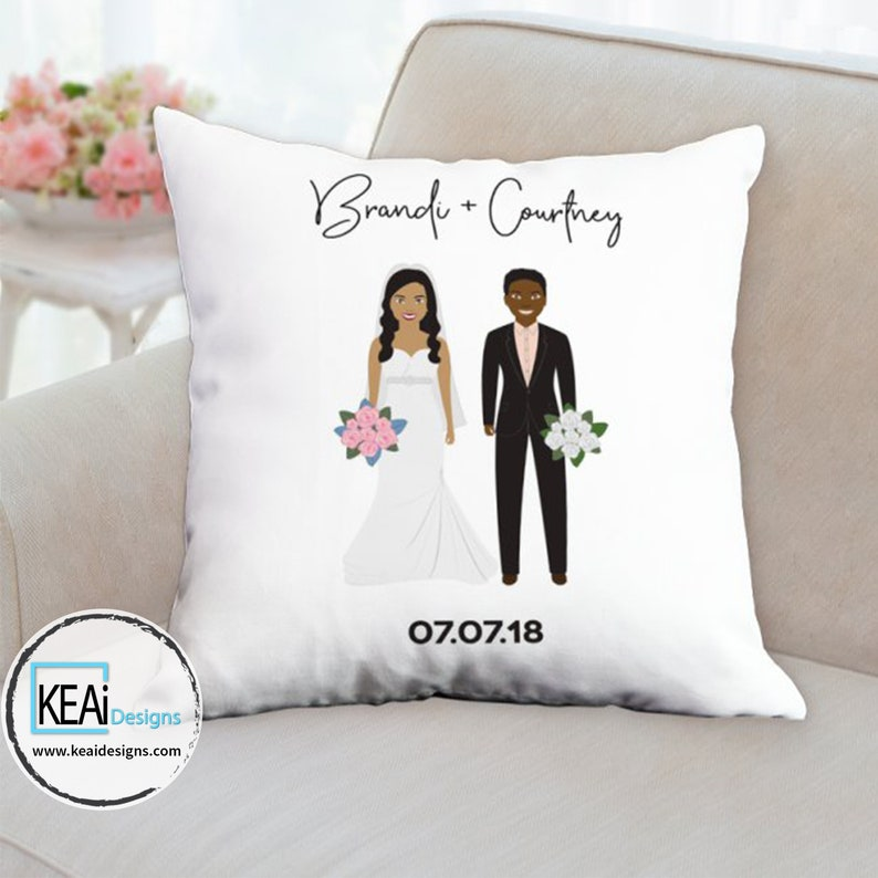Custom Illustration Throw Pillow as Wedding Gift // Customize image 0