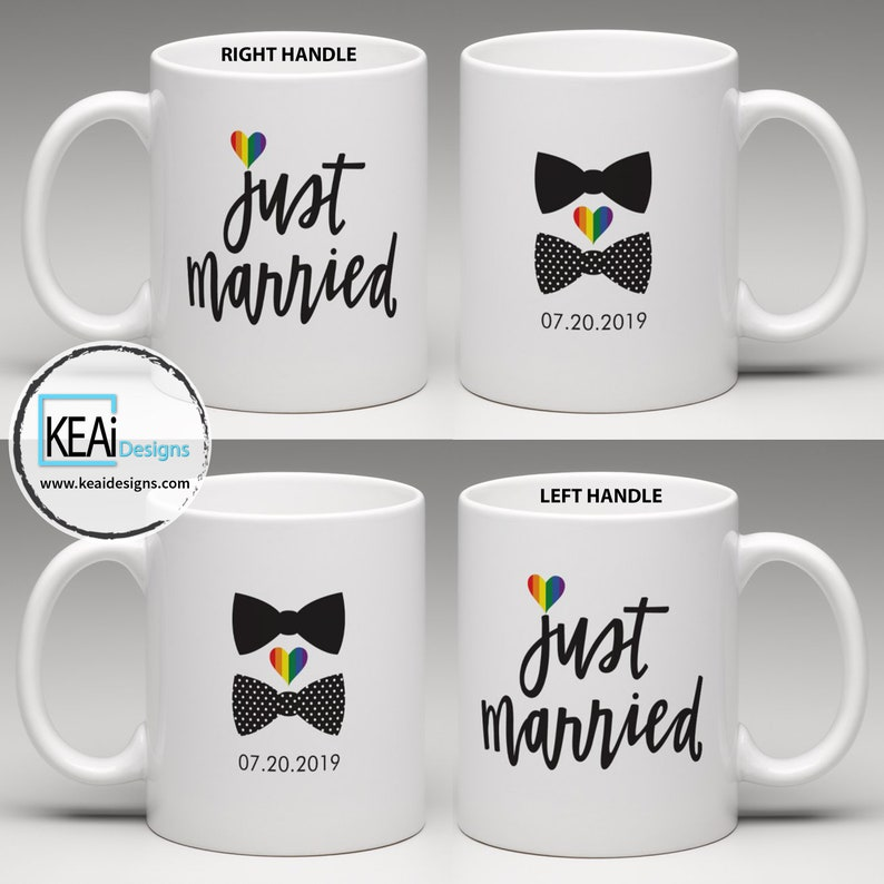 LGBTQ 2 Grooms Just Married matching Coffee Mugs // Mr and Mr image 0