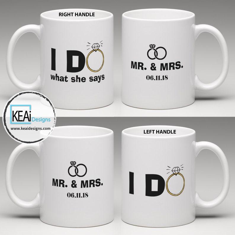 Mr and Mrs Customize matching Coffee Mugs // Mr and Mrs Mugs image 0