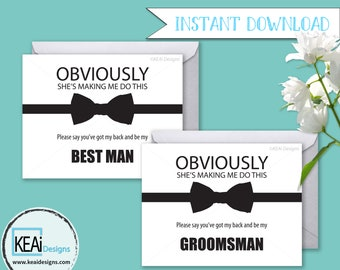 2 Cards - INSTANT DOWNLOAD Fun Ask Wedding Party // Funny Will you be my Best Man // Will you be my Groomsman // DIY Wedding - KEAiDesigns