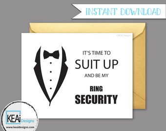 Ring Security // Will You Be My Ring Bearer // Will You Be my Ring Security // Ask Ring Bearer Instant Download // DIY Wedding- KEAiDesigns