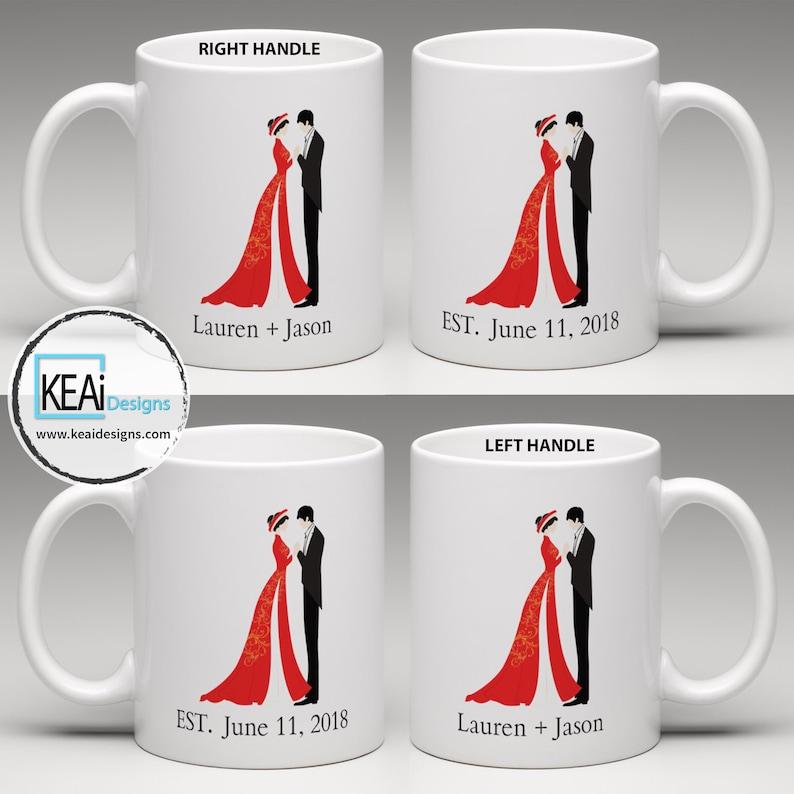 Vietnamese Couple matching Coffee Mugs // Vietnamese Bride and image 0