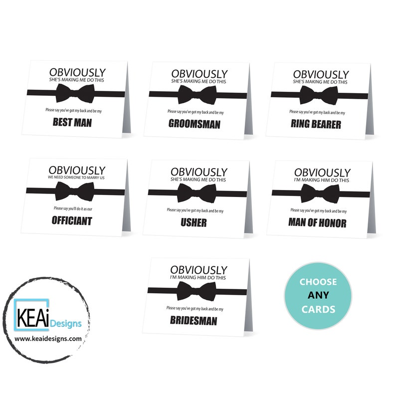 Bundle // Bowtie Funny Ask Officiant Card // Will You Be My image 0