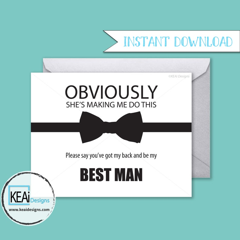 INSTANT DOWNLOAD Will You Be My Best Man // Will you be my image 0