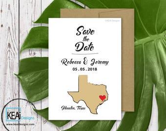 Texas Wedding Save the Date // Texas Destination Wedding // US State Map Save the Date // Wedding Invitations // Texas Wedding - KEAiDesigns